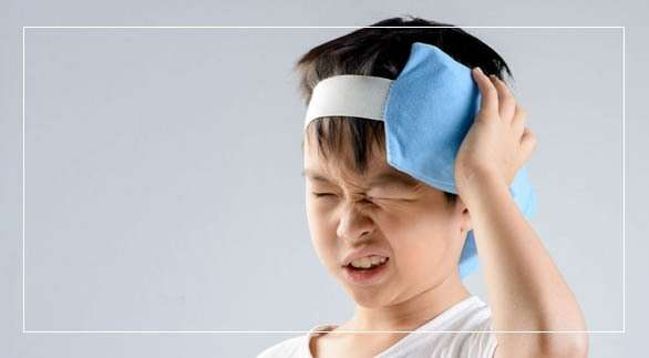 kid placed ice pack on head injury