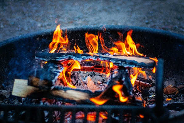 campfire in a grill