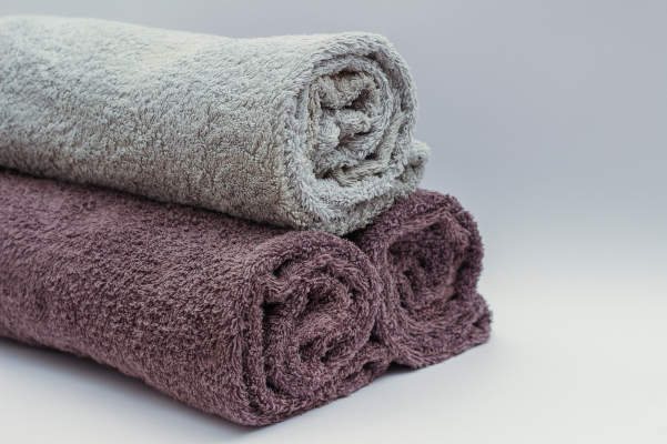 rolled clean towels for camping