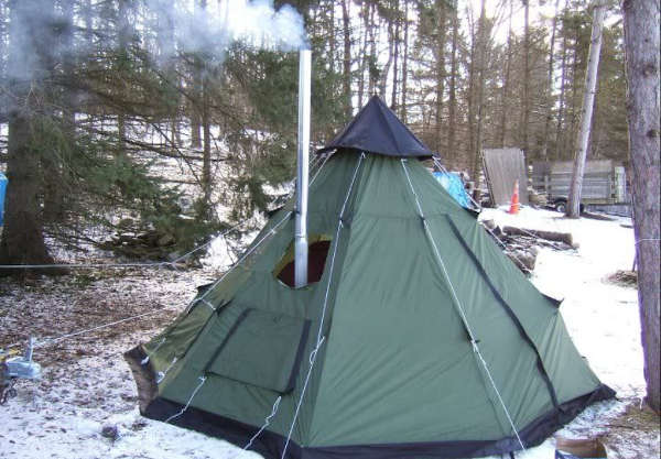cheap tent with stove jack in winter
