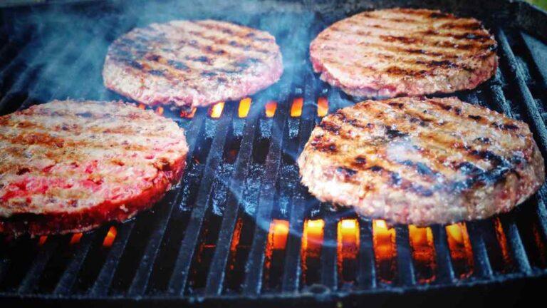 steaks on propane grill