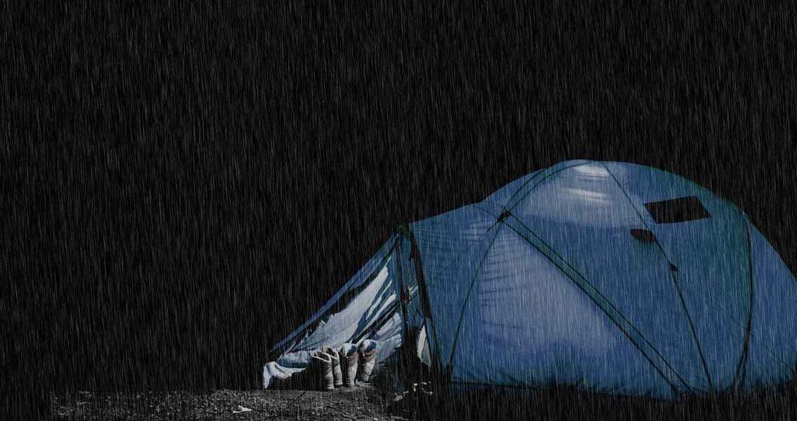 waterproof tent in rain