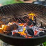 burning coal in a charcoal grill