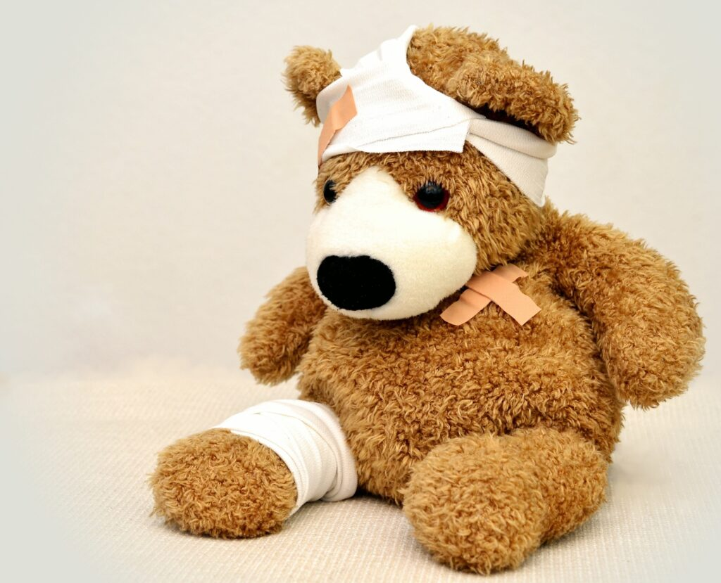 teddy bear in pain
