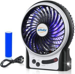 efluky 3 Speeds Mini Desk Fan, Rechargeable Battery Operated Fan